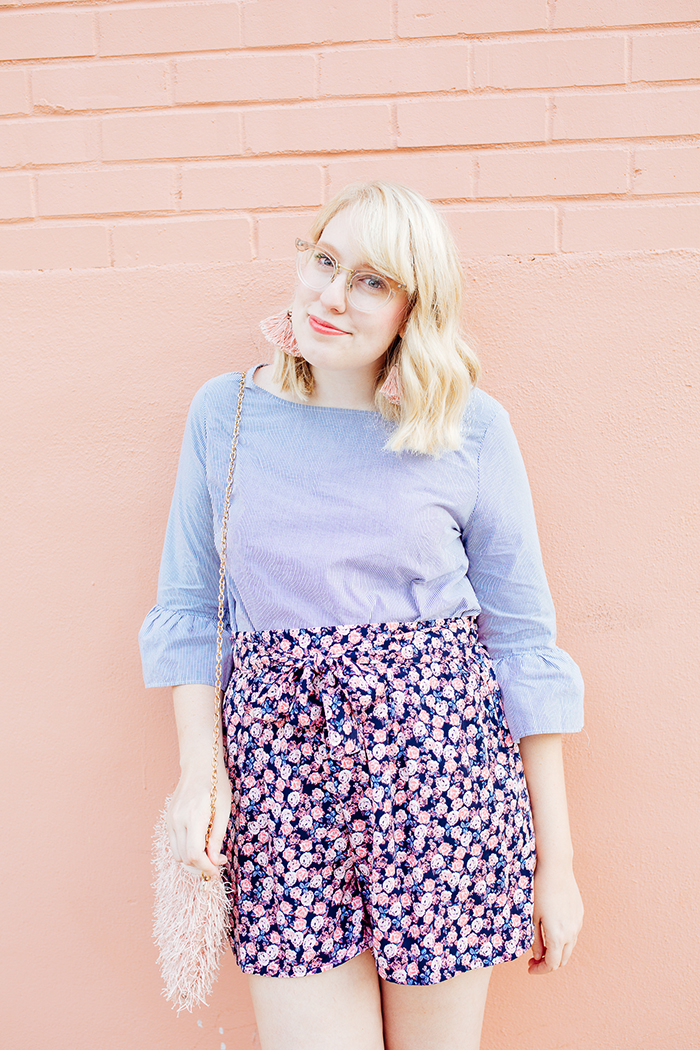 austin fashion blogger writes like a girl bell sleeves floral shorts21