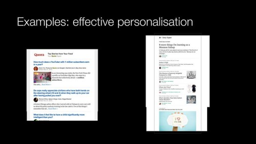 Effective personalisation examples