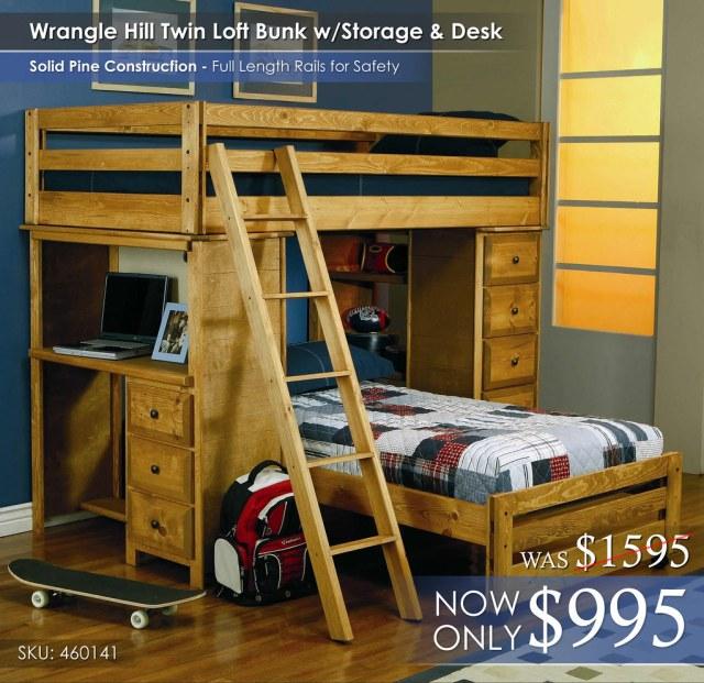 Coaster Wrangle Hill Twin Loft Bunk Bed wStorage Desk_460141