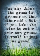 #quote You may think the grass is greener on the other side, but if you take the time to water your own grass, it will be just as green. Visit @JLenniDorner
