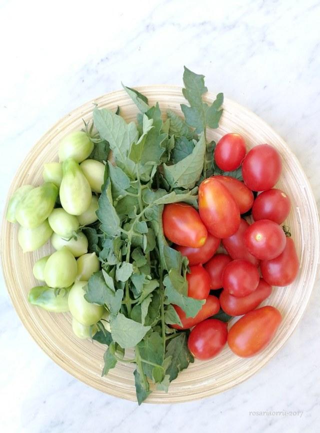pomodorini e foglie