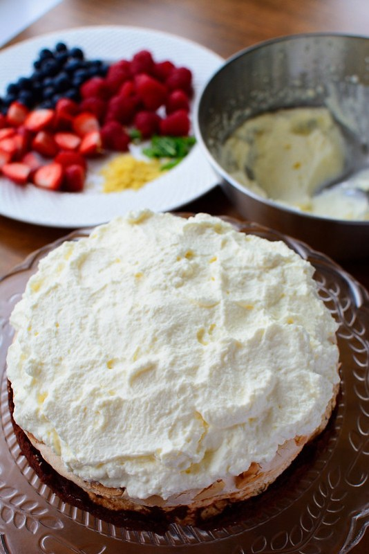 Summer Almond Meringue Cake
