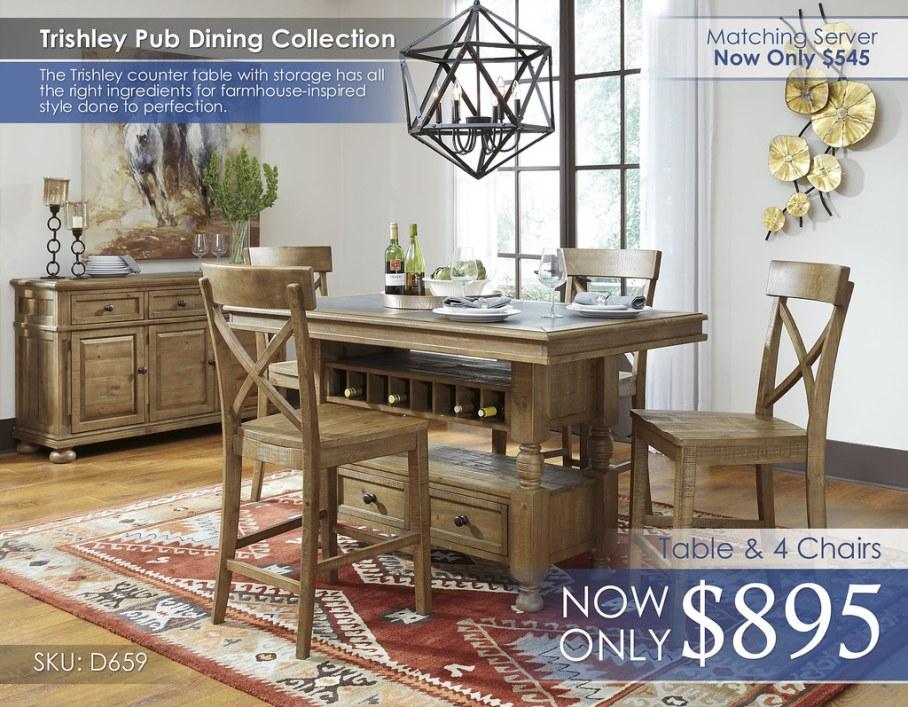 Trishley Dining Set D659-32-124(4)-60-R40133