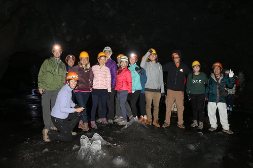 Group photo around ice stalagmites in the Fuji Wind Cave