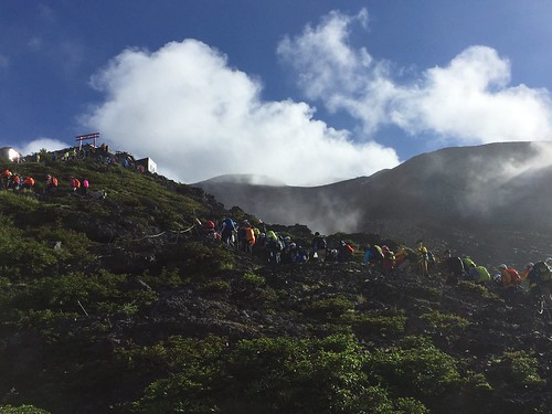Long line of Fuji climbers at the seventh station