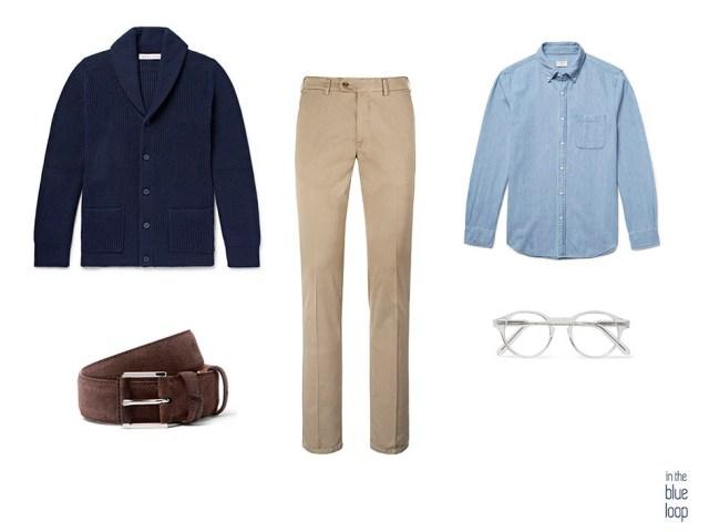 Look masculino smart-casual-casual con chinos, camisa azul, cárdigan, cinturón y gafas