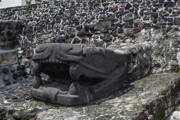 Carved Snake head at Templo Mayor