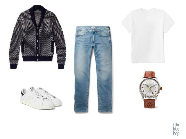Look masculino casual con vaqueros, sneakers, cárdigan, reloj y camiseta blanca hombre