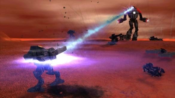Illuminate Experimental Assault Bot firing its laser at a UEF T3 Armored Assault Bot
