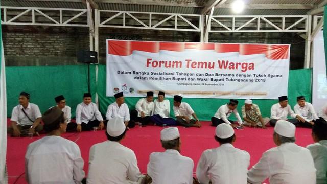 Doa bersama tokoh agama untuk kesuksesan Pemilihan Bupati dan Wakil Bupati Tulungagung Tahun 2018 digelar Kamis (28/9)
