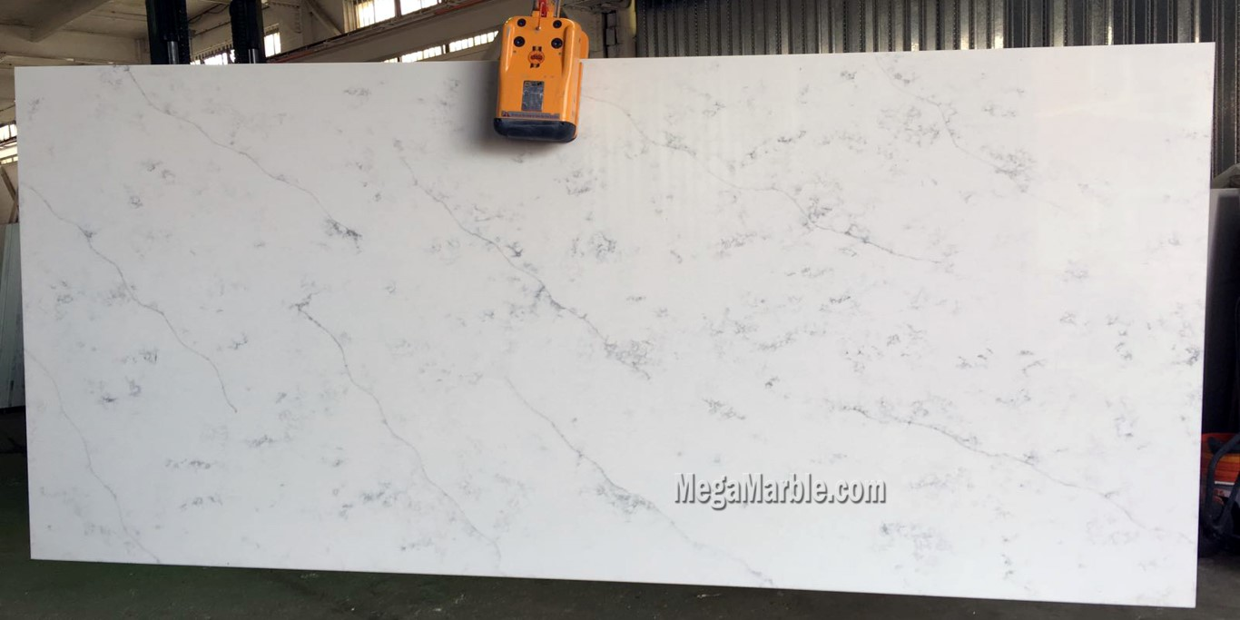 Quartz countertops that look like Statuario marble