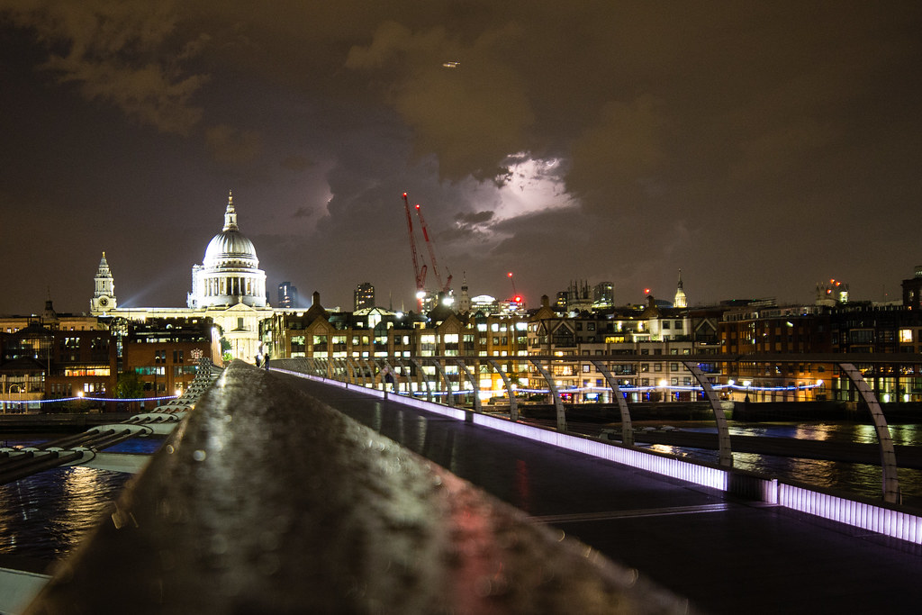 Summer storm on Millennium Bridge and St. Paul's Cathedral