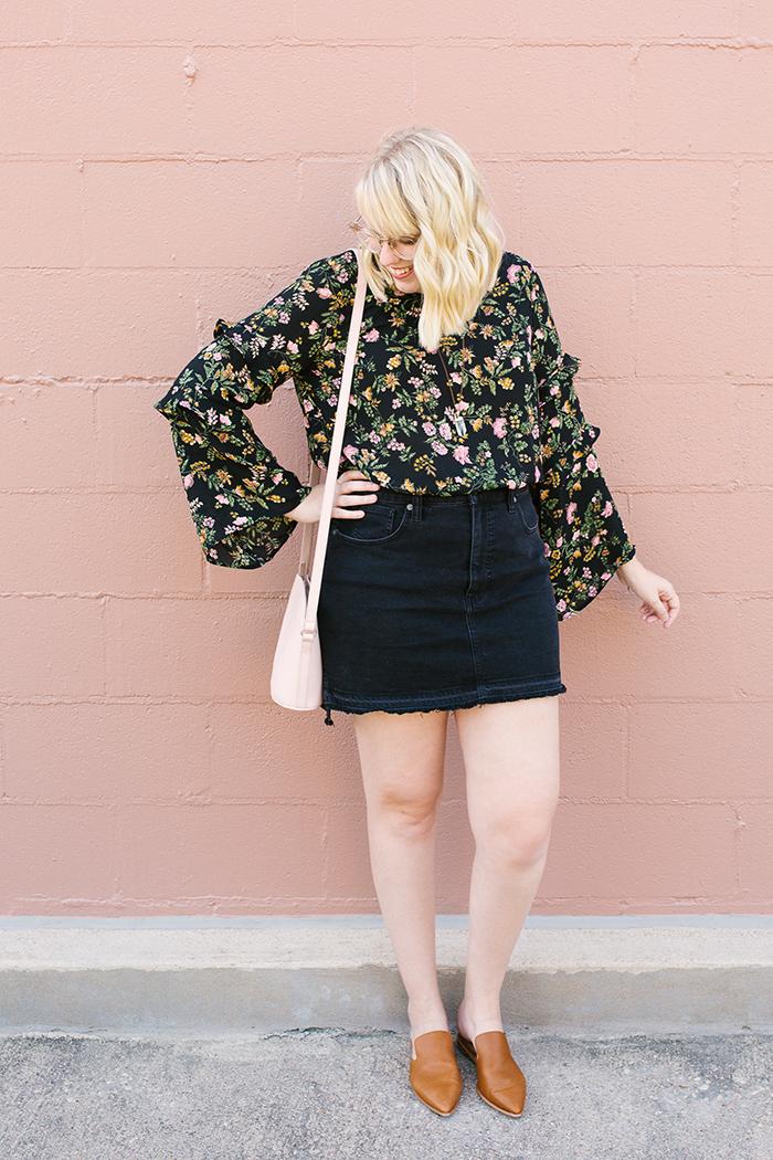 writes like a girl austin fashion blogger bell sleeves denim skirt2