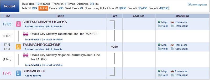 2 Hari Keliling Osaka - Rute Kereta 6
