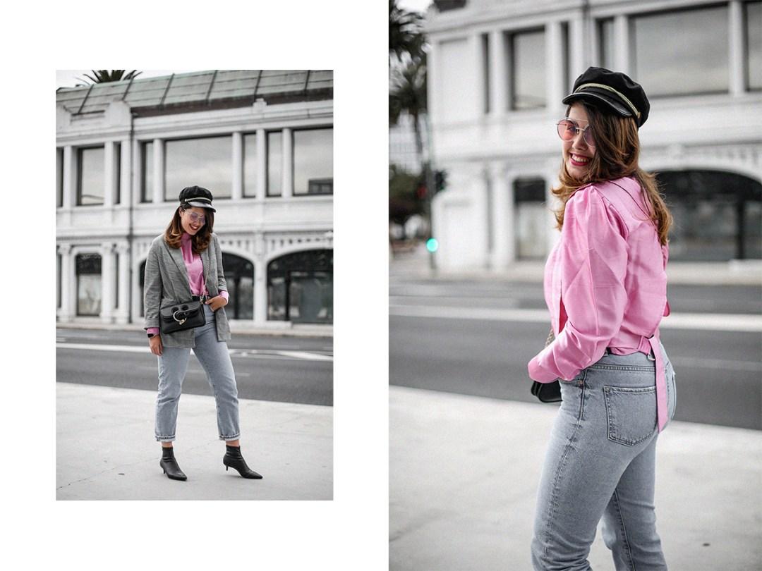blusa con hombreras rosa asos look back to 80s15