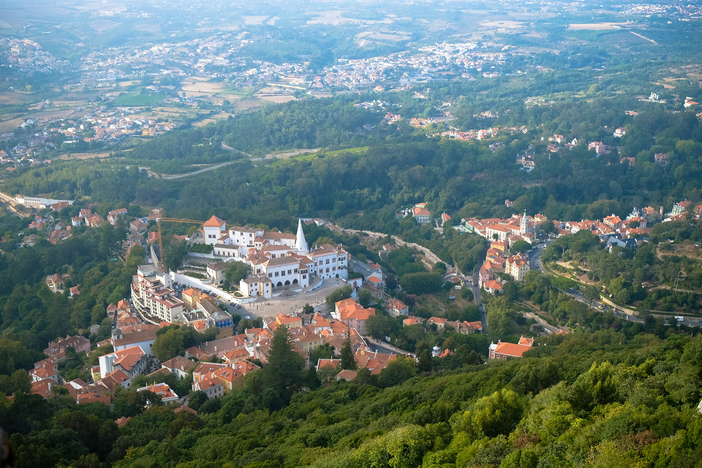 View of National Palace of Sintra from Moors Castle