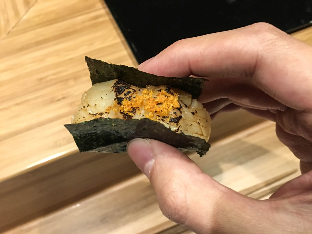 Seared scallop with karasumi (dried mullet roe)