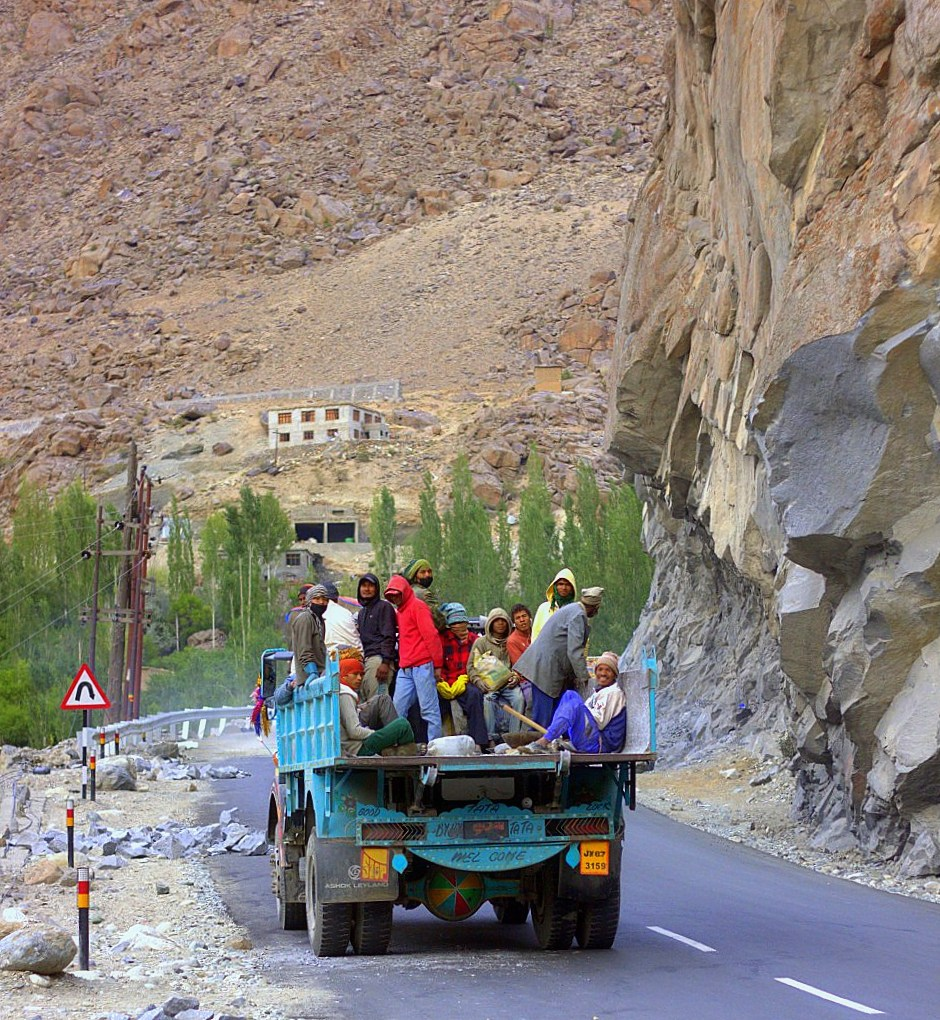 Migrant workers at work on the highway for reaching Ladakh by road