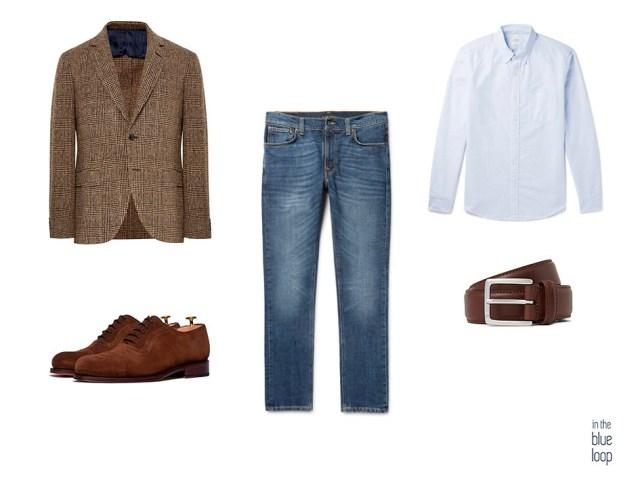 Blazer de tweed, vaqueros, zapatos oxford de ante, cinturón marrón y camisa azul para un look smart-casual masculino