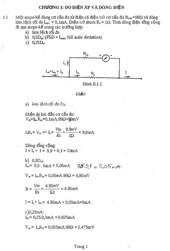 Bài tập đo lường điện có lời giải