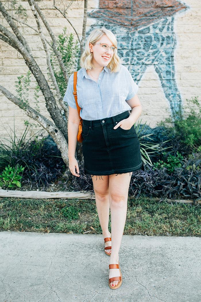 austin style blogger writes like a girl madewell denim skirt9