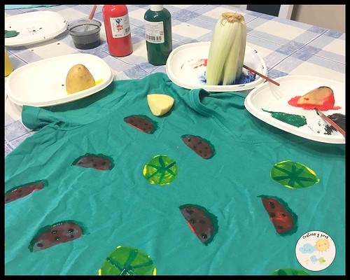 Pintar con frutas y verduras