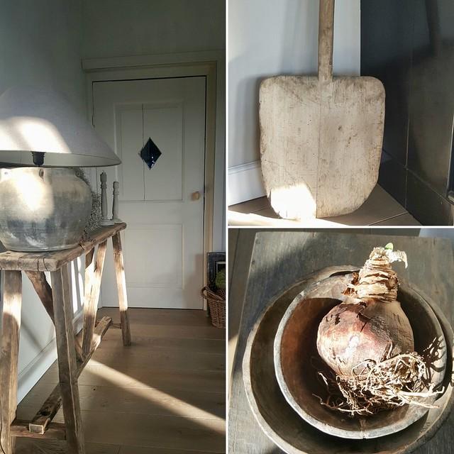 Collage sidetable kruiklamp houten schalen