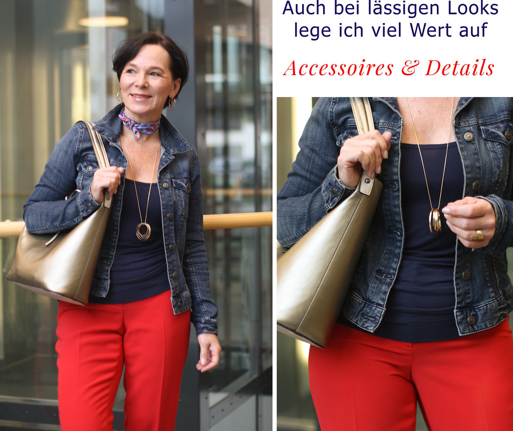 LadyofStyle Wochenende Jeansjacke Anzughose Goldene Details