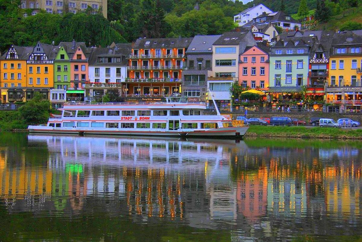 Lights reflecting on the Moselle River