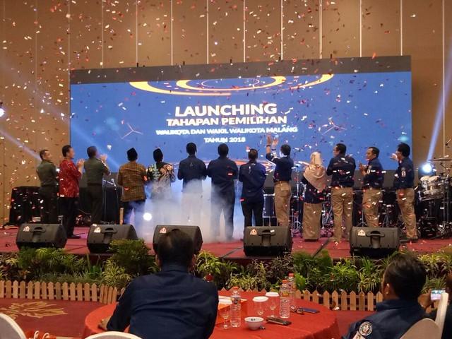 Launching Pilkada Kota Malang, Jumat (8/9/2017) malam, berlangsung meriah (8/9)