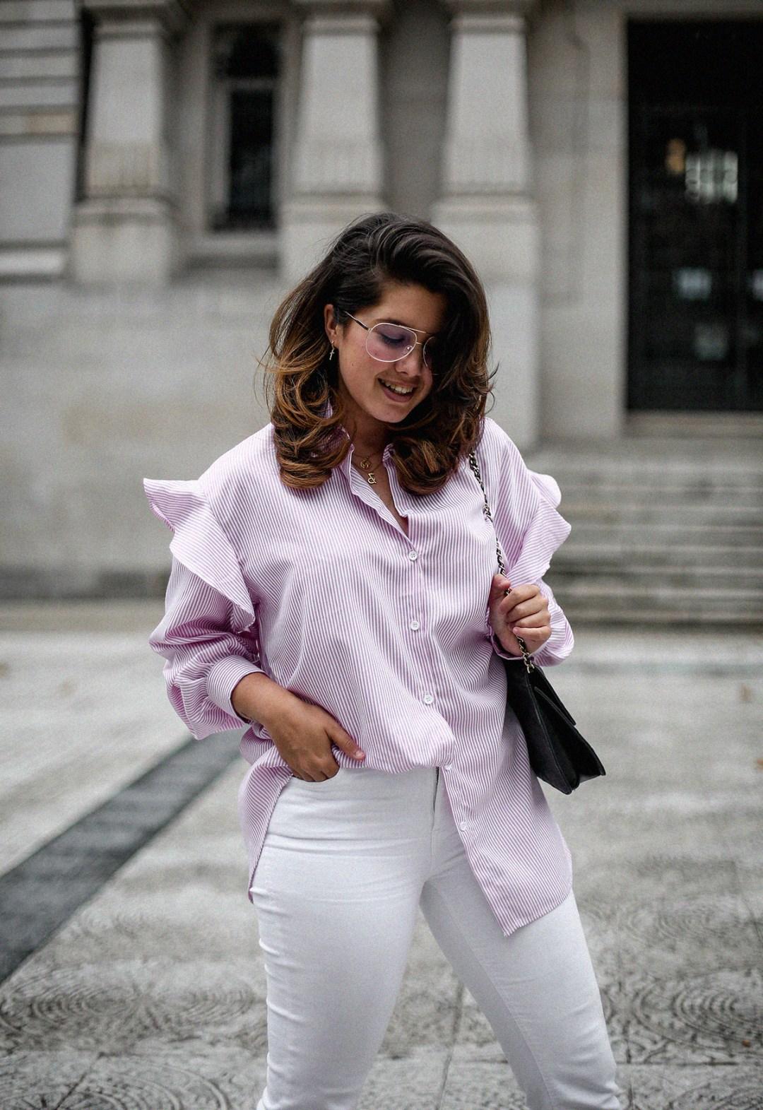camisa rayas rosa dias como estos bailarinas lazo negras hm myblueberrynightsblog9