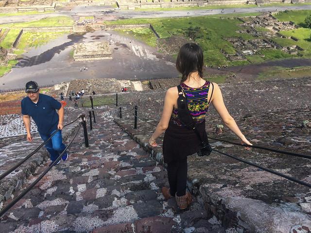 Briana descending the Pyramid of the Sun