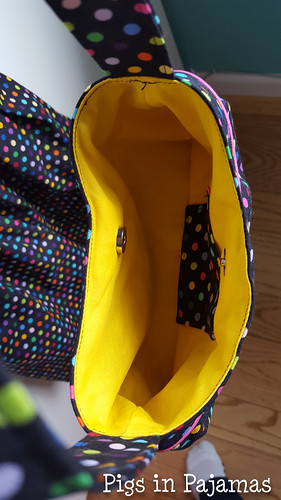 Polka Dot Buttercup Bag inside