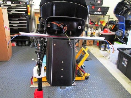 Tail Light and Turn Signal Stem Bracket Mounted on Rear Fender