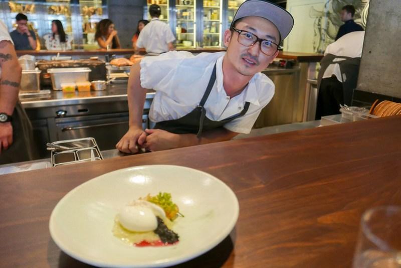 Ko Egg,Ko Egg, Caviar, Benímosu (Purple Sweet Potato Vinegar), Onion Soubise, Potato Chips, Greens Caviar