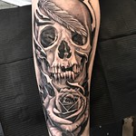 All dayer for Harry's first tattoo! What a champ! I fuckin' love skulls and roses!! Thankyou. Done at New Wave, London #skull #rose #blackandgreytattoo