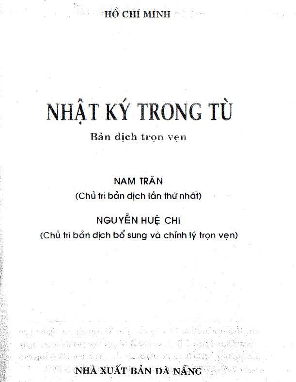 Sách nhật ký trong tù - HỒ CHÍ MINH - Xuất bản năm 2002