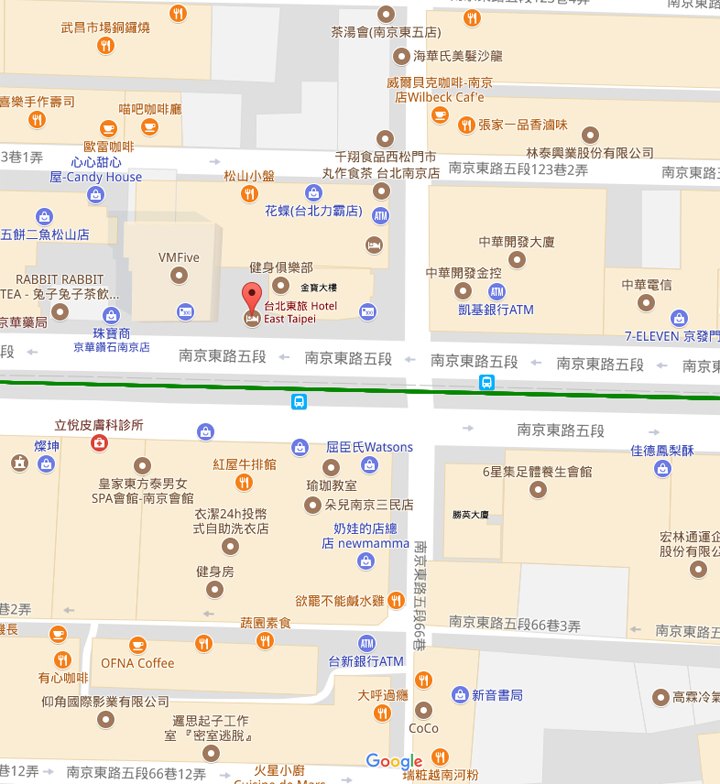 Hotel East Taipei Map