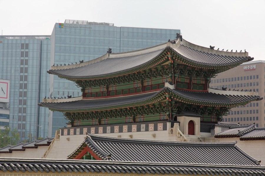 palais gyeongbokgung vue vers ville