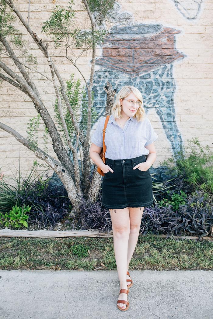 austin style blogger writes like a girl madewell denim skirt7