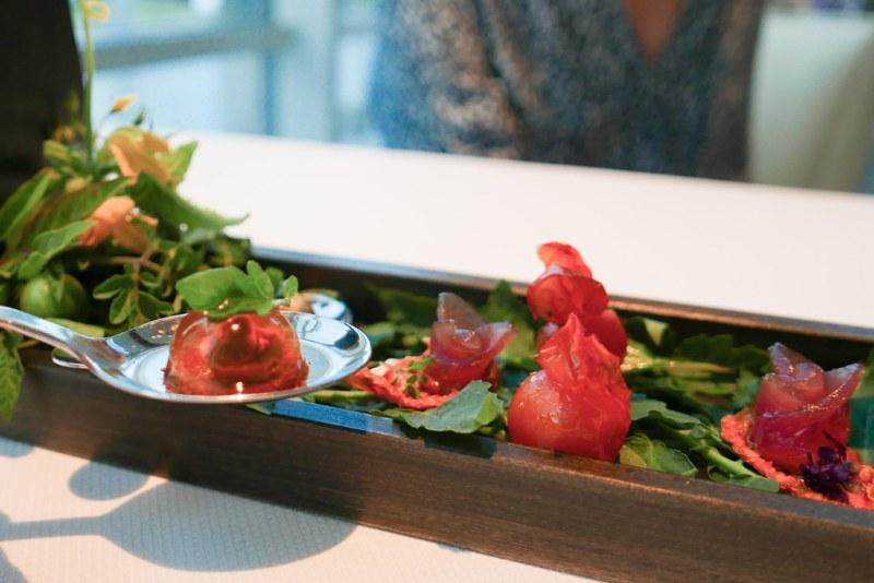 Tomato Basil Garden - Spoon of Smoked Tomato Water Gelee, Basil Seeds | Yellowtail Tuna Rosette on Tomato Leather | Tomato Skin Confit