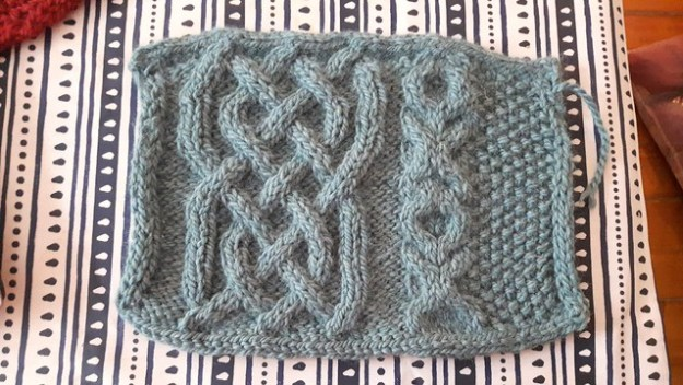 Seafoam cables blanket swatch  #knitting #ravelry