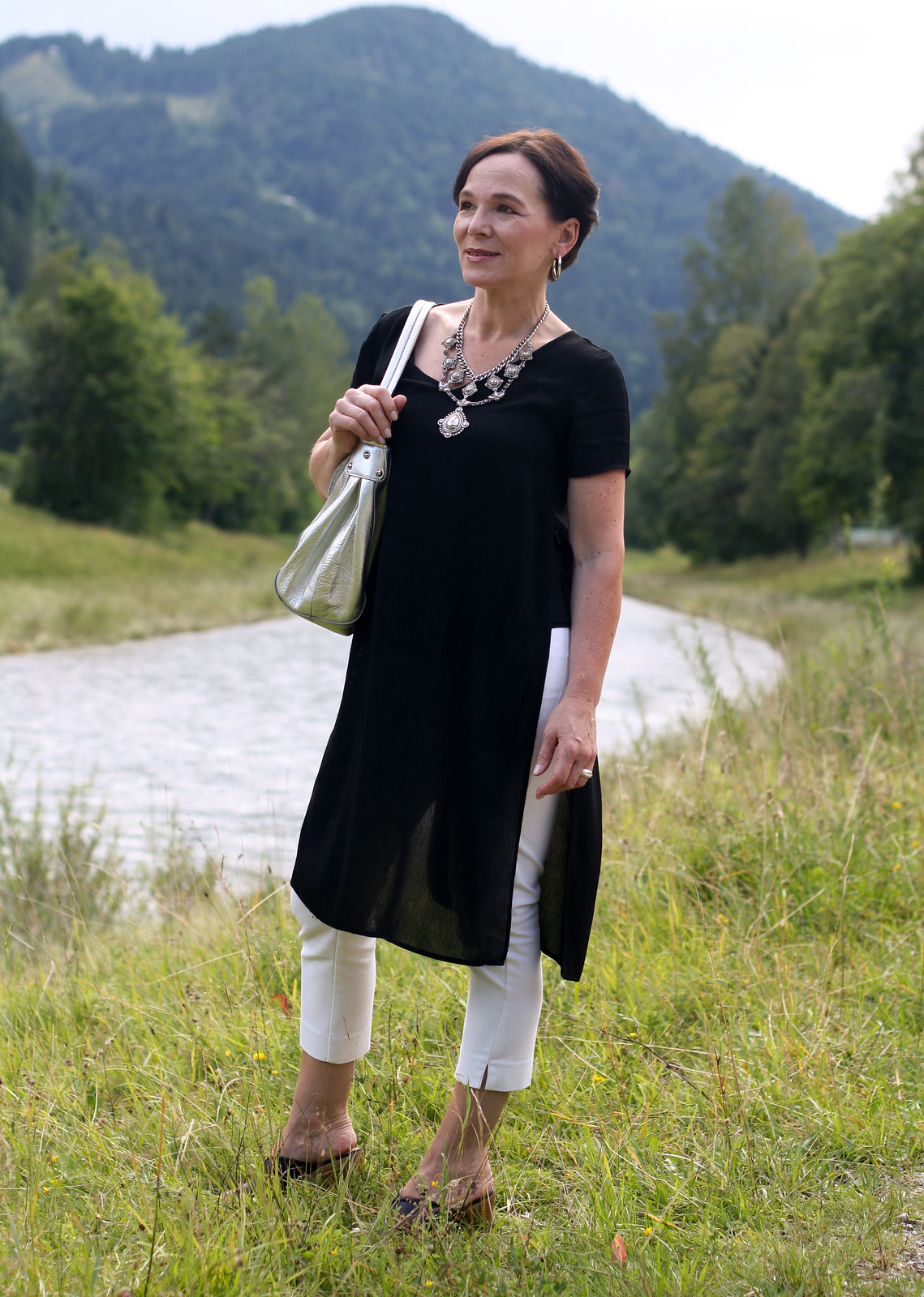 Black Tunic White Trousers Statement Necklace LadyofStyle
