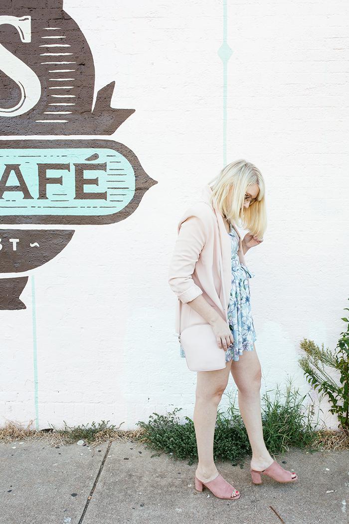 austin fashion blogger writes like a girl pastel floral romper blush blazer3