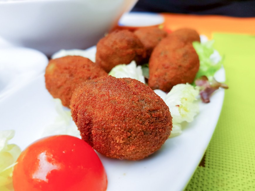 A plate of spinach croquettes