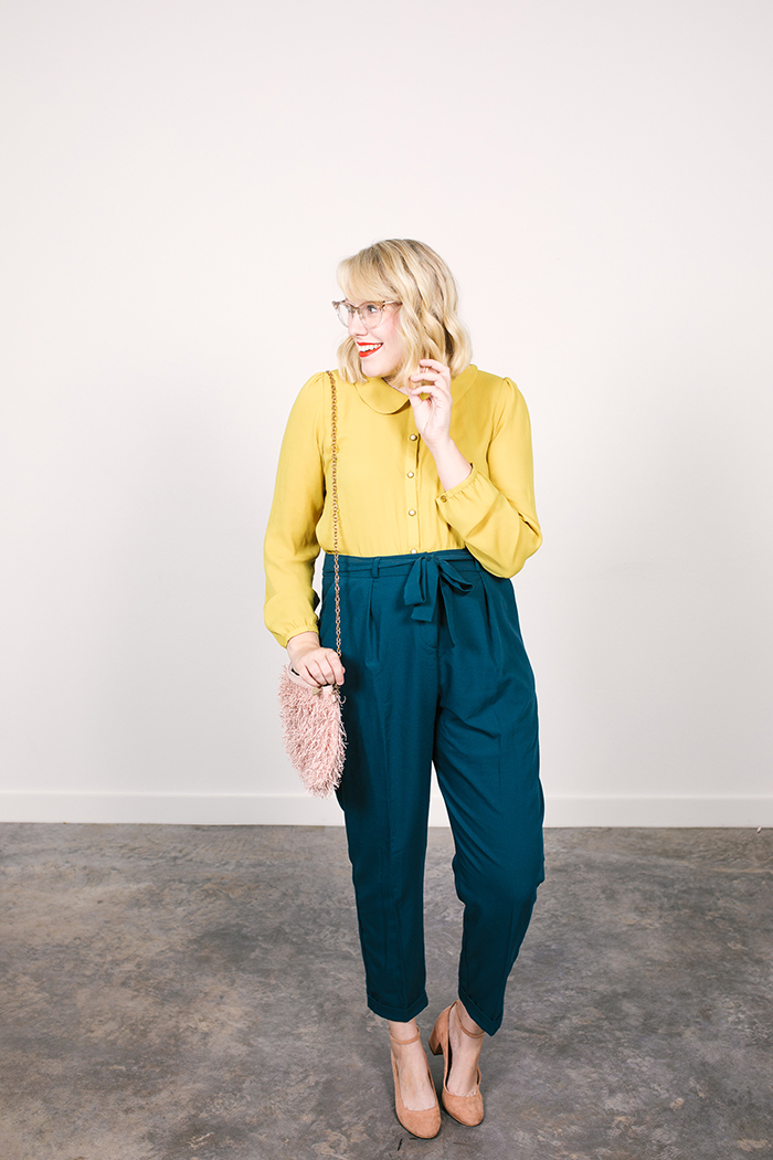 colorful fall capsule teal obi tie trousers yellow blouse1