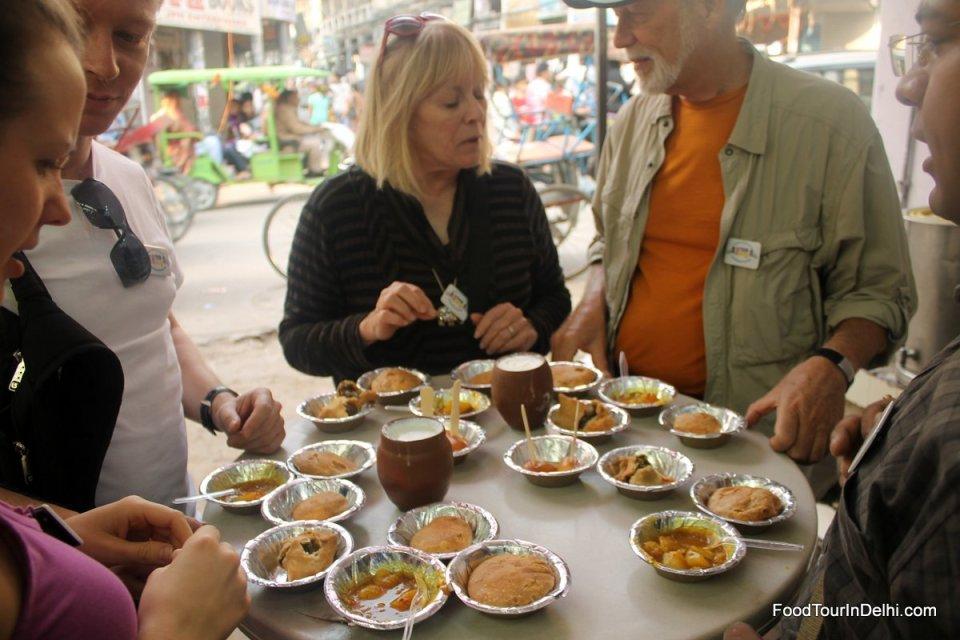 Starting food walk with Lassi, Kachori, Aaloo sabzi and Samosa