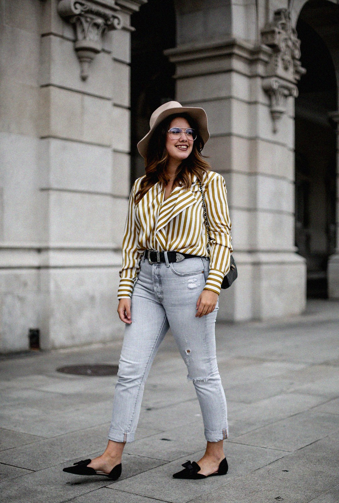 blusa rayas mostaza zara levis skinny 501 streetstyle4