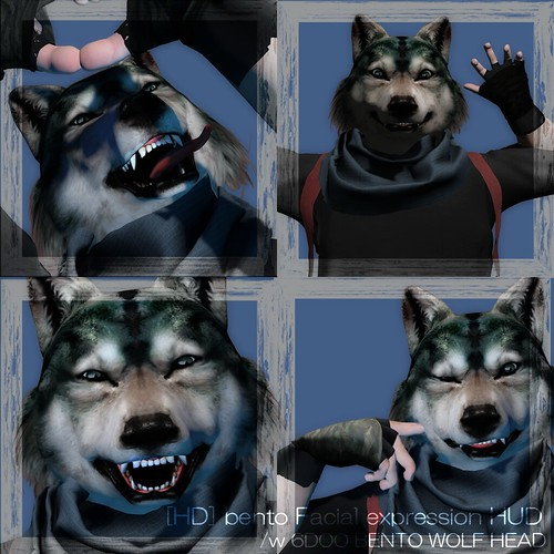 [HD] bento Facial expression HUD with 6DOO WOLF HEAD