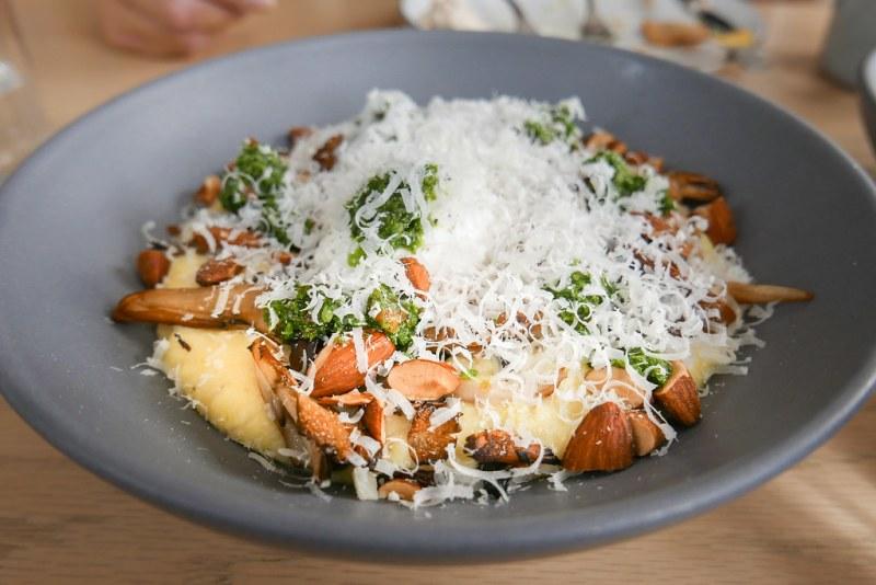 Mushroom Polenta, Mushrooms, Pesto, Almonds, Poached Egg ($14)